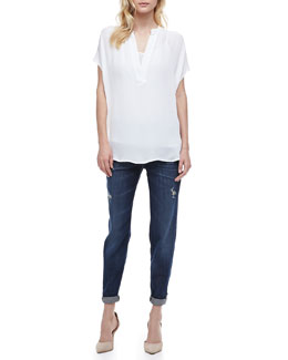 Vince Mason Relaxed Rolled Jeans & Cap Sleeve Popover Top