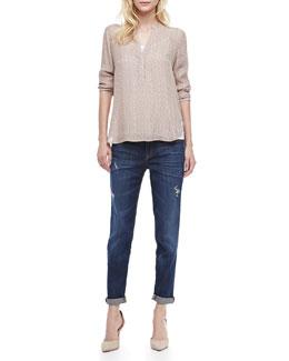 Vince Diagonal Print Silk Shirt & Mason Relaxed Rolled Jeans