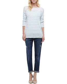 Vince Mason Relaxed Fit Jeans & Striped Lightweight Knit Sweater