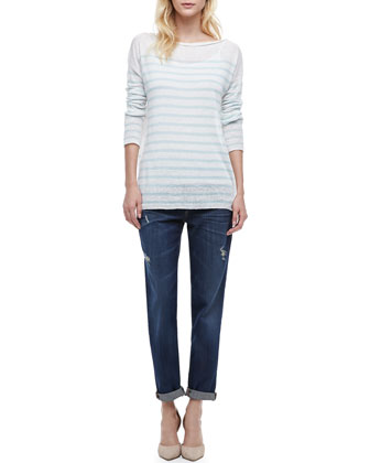 Mason Relaxed Fit Jeans & Striped Lightweight Knit Sweater