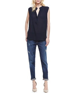 Vince Mason Relaxed Fit Jeans & Sheer Sleeveless Casual Shirt
