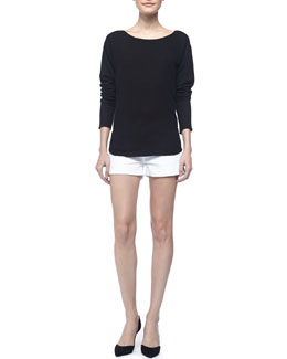 Vince Long-Sleeve Cashmere Top & Cool Skinny Cuffed Shorts