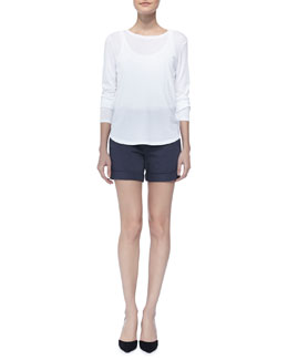 Vince Long-Sleeve Slub Tee & Rolled Relaxed Boyfriend Shorts
