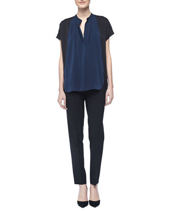 Two-Tone Silk Popover Blouse & Tab-Side Cropped Trousers