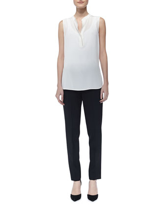 Silk Contrast-Trim Blouse & Tab-Side Cropped Trousers