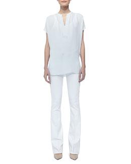 Vince Cap-Sleeve Silk Popover Blouse & Taylor Boot-Cut Jeans