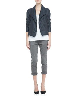 Vince Lightweight Leather Zip Jacket, Loose Sleeveless Jersey Tank & Cuffed Twill Military Pants