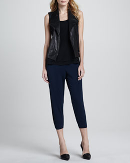 Vince Leather-Front Twill Vest, Double Layer Silk Tank & Jersey Cropped Pants