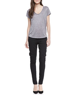 Vince Scoop-Neck Slub Tee & Slim Military Cargo Pants