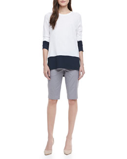 Vince Two-Tone Slub Top & Side-Buckle Bermuda Shorts
