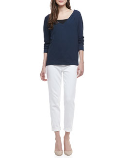 Vince V-Neck Cotton Sweatshirt & Mason Relaxed Cuffed Jeans