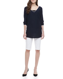 Vince Contrast-Trim Slub Top & Side-Buckle Bermuda Shorts