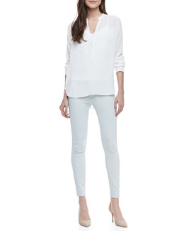 Vince Long-Sleeve Crepe Blouse & Dylan Ghost-Stripe Skinny Jeans
