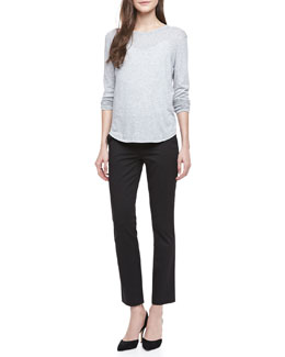 Vince Long-Sleeve Slub Tee & Straight-Leg Capri Pants
