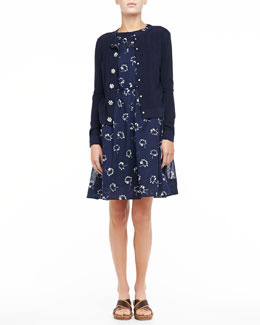 Marc Jacobs Ribbed Flower-Button Cardigan & Printed Pleated Slip Dress