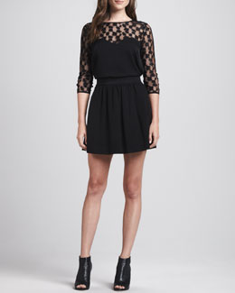 Milly Lace-Top Sweetheart Blouse & A-Line Wool Skirt