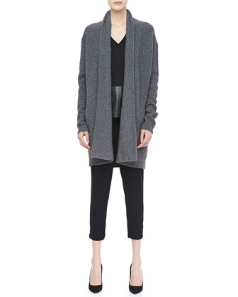 Textured Knit Open Cardigan, Suede/Leather V-Neck Top & Stretch Wool Harem Pants