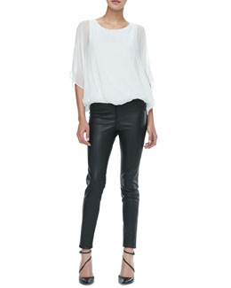 Alice + Olivia Pool Batwing Silk Top & Leather Leggings