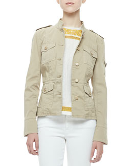 Tory Burch Sergeant Military Jacket & Pearl Embroidered-Trim Shell