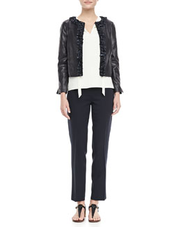 Tory Burch Lindsay Rosette-Trim Leather Jacket, Tanya Tie-Neck Top & Tara Cropped Crepe Pants