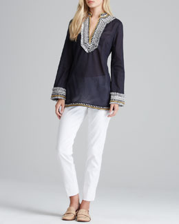 Tory Burch Tory Embroidered Voile Tunic & Tessa Relaxed Twill Pants