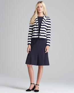 Tory Burch Augusta Striped Knit Blazer & Shania Flare-Skirt Dress