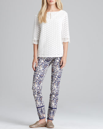 Elie Dot-Lace Top & Izzy Printed Cropped Skinny Jeans