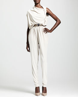 Lanvin Draped Jumpsuit & Udaipur Crystal-Buckle Elastic Belt