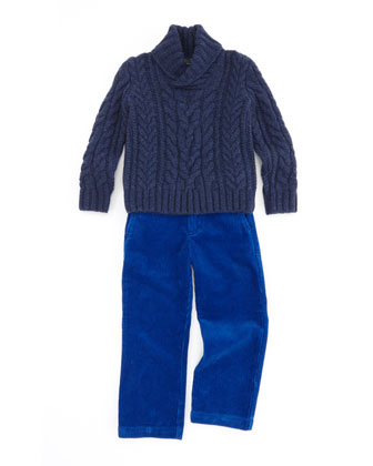 Aran-Knit Shawl-Collar Sweater & Preston Corduroy Pants