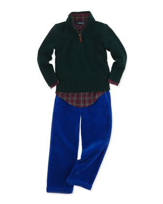 Half-Zip Cashmere Pullover, Blake Long-Sleeve Tartan Plaid Shirt & Preston Corduroy Pants, ...