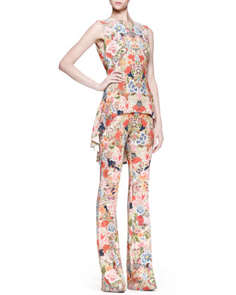Floral-Print High-Low Top & Tabbed Pants