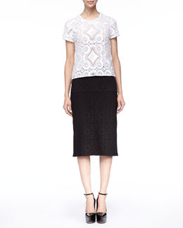 Burberry Prorsum Short-Sleeve Lace Shirt and Tailored Lace Midi Skirt