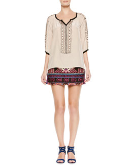 Nanette Lepore Tipis Embroidered Contrast-Trim Top & Ritual Embroidered Short Skirt