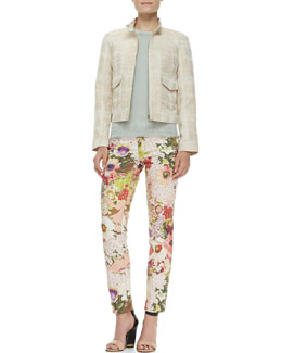 Tory Burch Larissa Tweed Button Collar Jacket, Michaela Short Sleeve Sweater & Five-pocket Floral Print Jeans