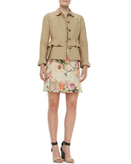 Tory Burch Delia Ruffled Cotton Jacket & Kaley Floral Tweed Dress