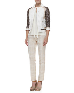 Tory Burch Deena Mixed-Leather Jacket, Tanya Tie-Neck Top & Harp Textured Straight-Leg Pants