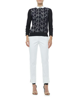 Tory Burch Sandy Lace-Front Sweater & Tessa Relaxed Twill Pants