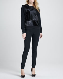 Theory Saybrook Calf-Hair Sweater & Redell Side-Zip Skinny Pants