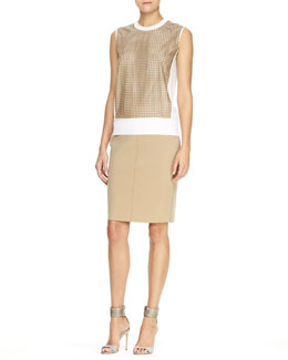 Reed Krakoff Perforated-Leather-Front Top and Paneled Stretch Pencil Skirt