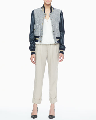 Ryder Leather-Sleeve Baseball Jacket, Quincy Draped High-Low Blouse & Cannes Pleated Cuffed Pants