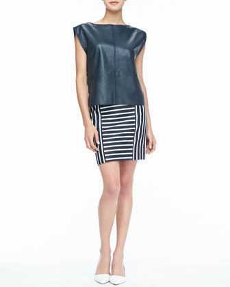 Wilson Leather Zip Top & Barrow Striped Pencil Skirt
