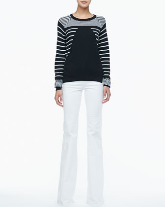 Grayson Striped Knit Sweater & Rachel Corduroy Flare Jeans