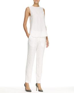 Thakoon Sleeveless Crewneck Tank & Pinstriped Trousers