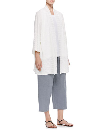 Oversized Rib Detail Cardigan, Sleeveless A-Line Linen Shell & Seamed Japanese Trousers