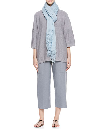 Round-Neck T-Shirt Sweater, Seamed Japanese Trousers & Linen Scarf