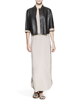 Brunello Cucinelli Reversible Cropped Leather Jacket, Leather Belt with Metal Cylinder & Monili-Trim Cotton/Silk Maxi Tank Dress