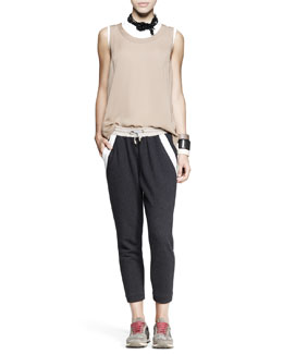 Brunello Cucinelli Sleeveless Cylinder Top, Fitted Cotton Top, Cropped Spa Pants, Necklace & Cuffs