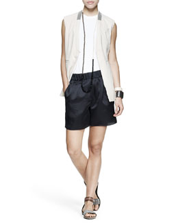 Brunello Cucinelli Monili-Collar Nubuck Vest, Sleeveless Cotton Top, Duchesse Midi Shorts, Long Necklace & Cuffs