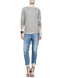 Brunello Cucinelli Flower-Embossed Pullover, Short-Sleeve Tee, Bias-Cut Jeans & Leather Cuff Bracelets