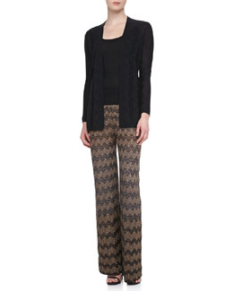 Long Zigzag Knit Cardigan, Tank & Metallic Wide-Leg Pants